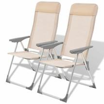 vidaXL 2x Camping Chairs Aluminum Folding Cream Reclining Camp Outdoor Seat - $70.99