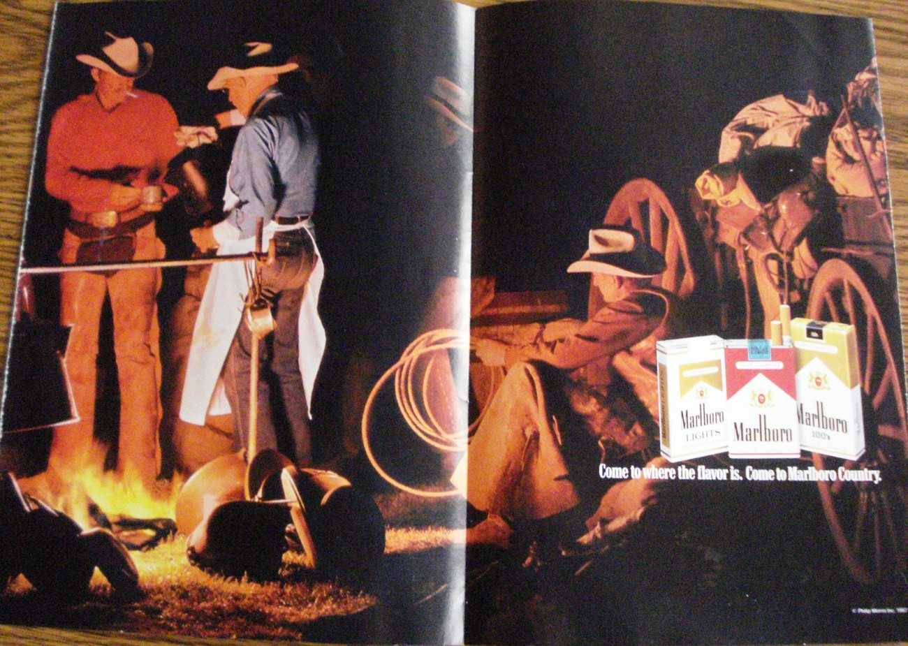 Primary image for Marlboro 2 Page Color Print Ad Cowboy Campfire Come to where the flavor is    NM