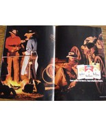 Marlboro 2 Page Color Print Ad Cowboy Campfire Come to where the flavor ... - $5.99