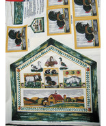 Vintage Fabric Panel Tea Caddy Coasters Roosters Barn - $9.97