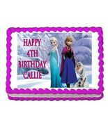 Frozen Elsa, Anna and Olaf Edible Cake Image Cake Topper - $8.98+