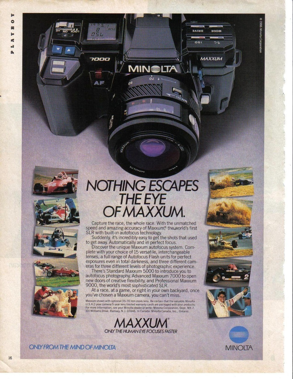 Primary image for Minolta Nothing Escapes The Eye Of Maxxum. Full Page Color Print Ad Near Mint