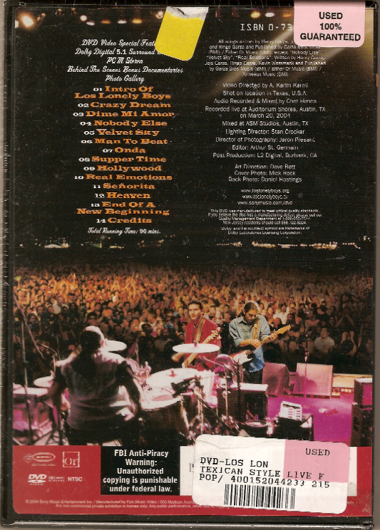 Los Lonely Boys Texican Style (Live From Austin) DVD
