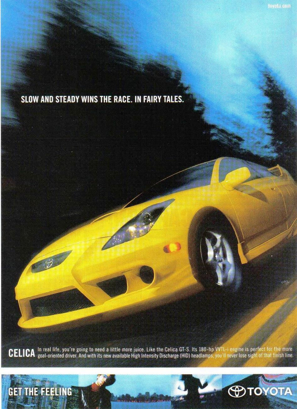 Primary image for Toyota Celica Full Page Color Print Ad 2002 Original Near Mint