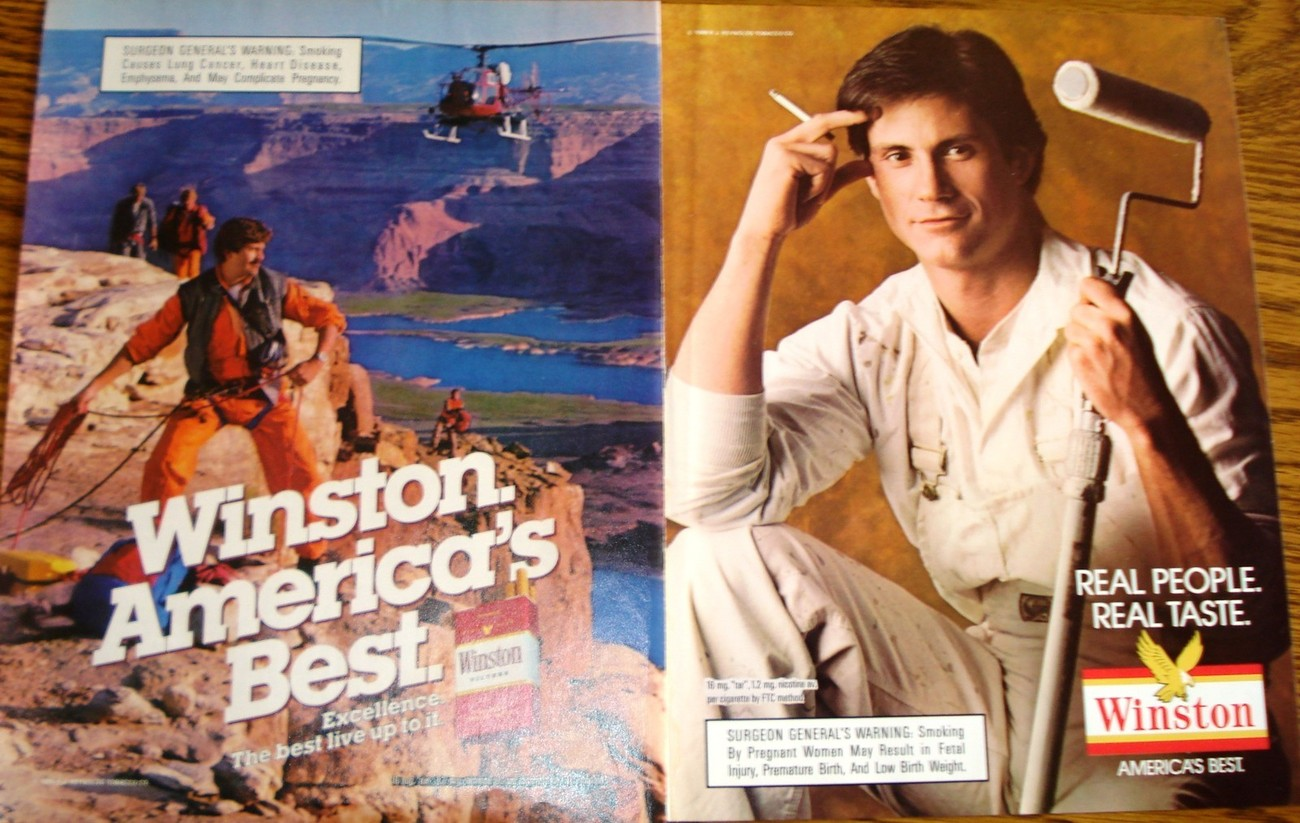 Primary image for Winston 2 Pages of Color Print Ads From The 1980's Real People Real Taste  NM