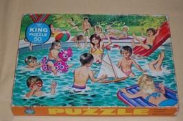 Antique Retro 1950s Jumbo Junior King Kids in Swimming Pool Puzzle 50 pcs - $57.83