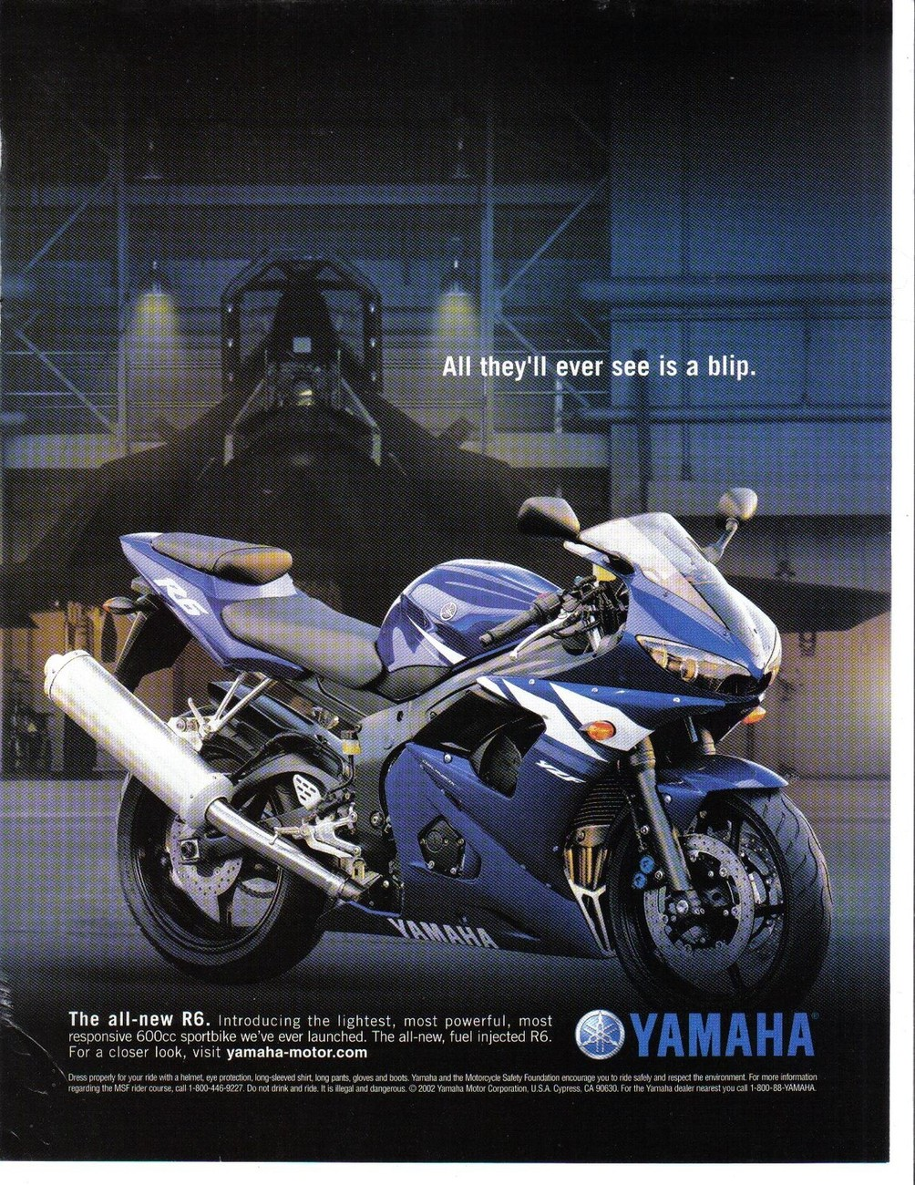 Primary image for Yamaha Ad 2002 All they'll ever see is a blip Full Page Color Print Ad Very Good