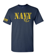 United States Navy Anchor Flag on Sleeve Distressed Men's Tee Shirt 1661 - $8.87+