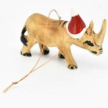 Hand Carved & Painted Jacaranda Wood Santa Hat Rhinoceros Christmas Orna... - $17.81