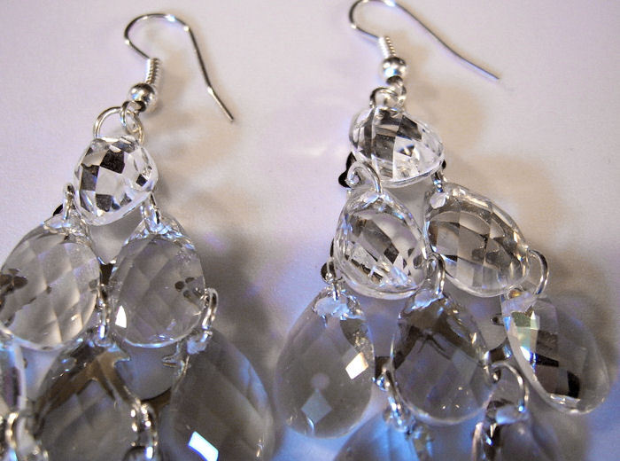 Earrings Chandelier Style Silver and Crystals