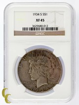 1934-S Silver Peace Dollar NGC Graded XF 45 - $199.81
