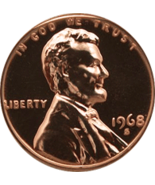 1968-S Lincoln Memorial Penny Lincoln Cent Gem UNC RED Penny MS65 - $5.50