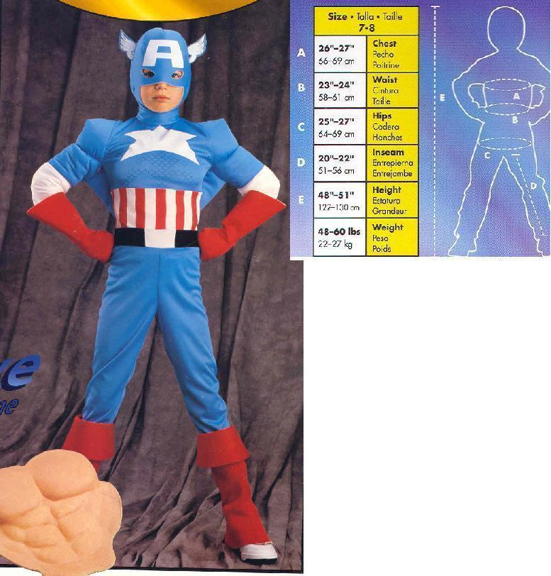 CAPTAIN AMERICA COSTUME 7/8 CHILD'S