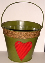 Green Painted Tin Pail w/ Heart Motif + Plastic Liner - $8.00
