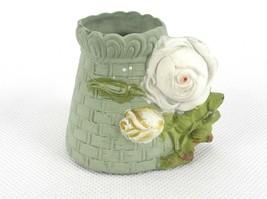 Porcelain Toothpick Holder, White Tulip Buds On Tapered Green Basket, #T... - $19.55