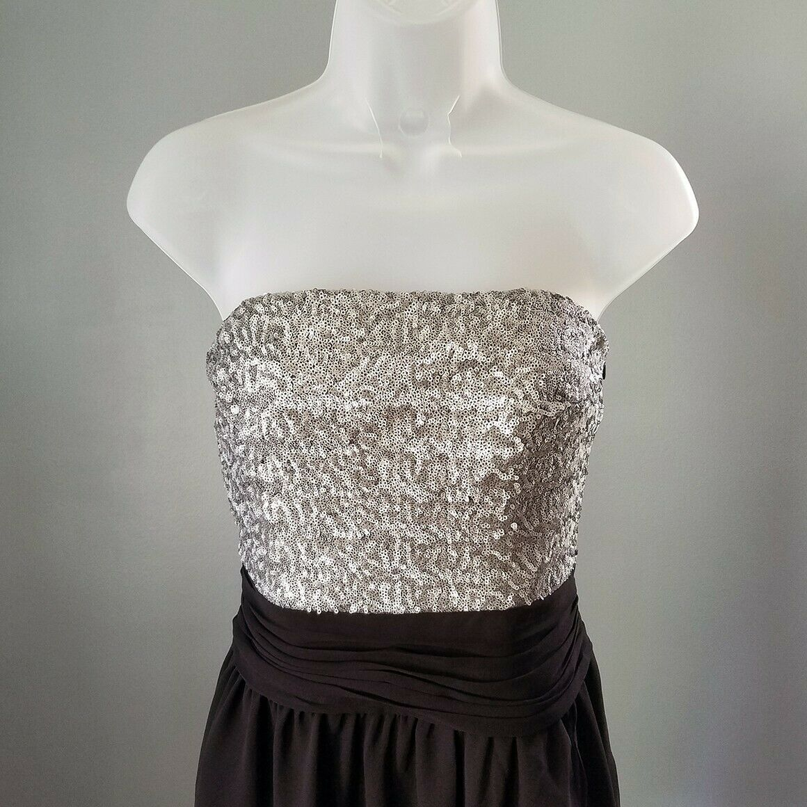 Express Silver & Black Sequin Strapless Cocktail Dress Size 6 image 2