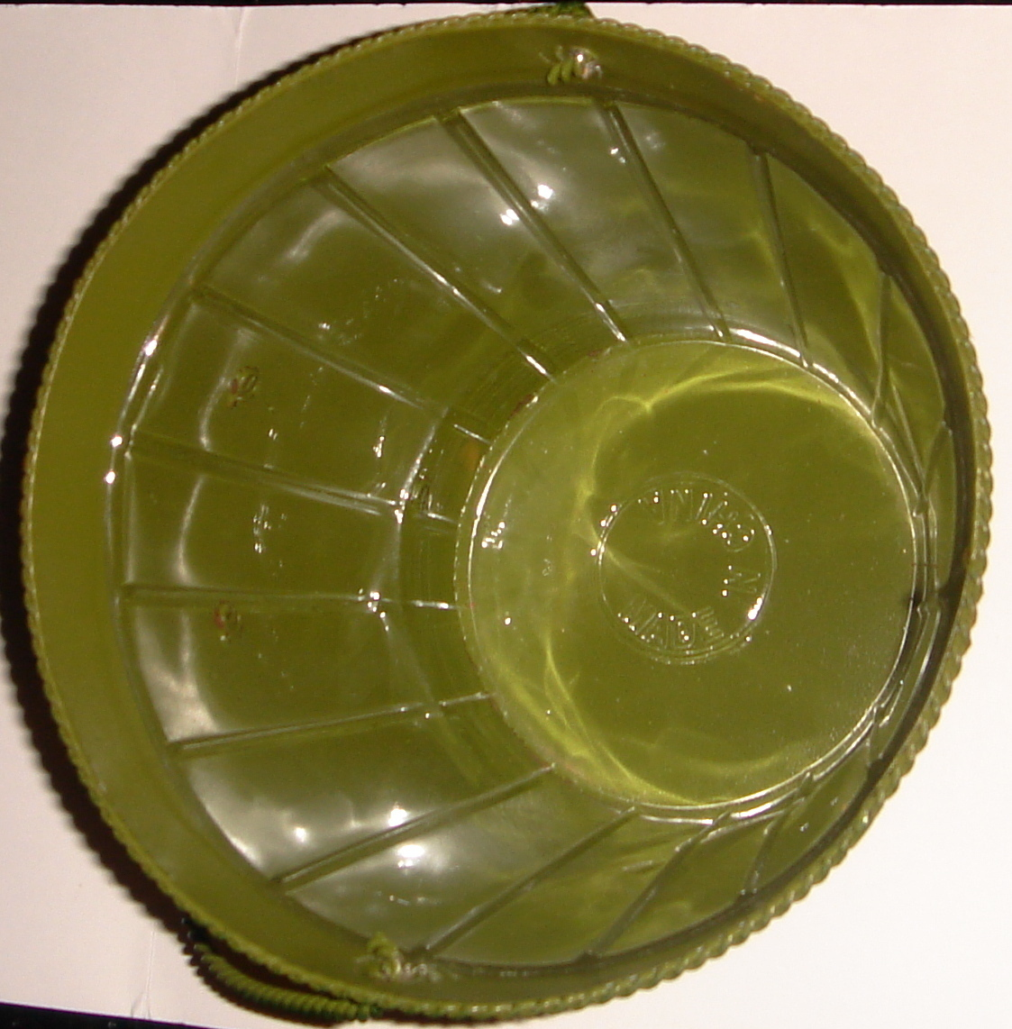 Green Painted Tin Pail w/ Heart Motif + Plastic Liner