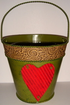 Green Painted Tin Pail w/ Heart Motif + Plastic Liner - $7.00