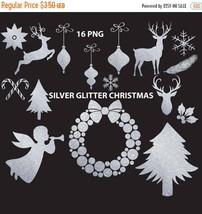 Silver glitter christmas clipart, silver glitter, clipart, deer, wreath,... - $3.15