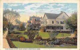 Residential Homes Upper Court Street Westfield Massachusetts 1921 postcard - $6.93