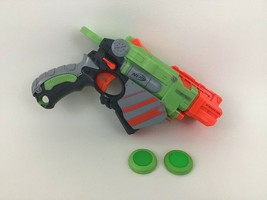 Proton Green Nerf Vortex Disc-Launching Gun Blaster Hasbro with Discs 2010 - $18.66