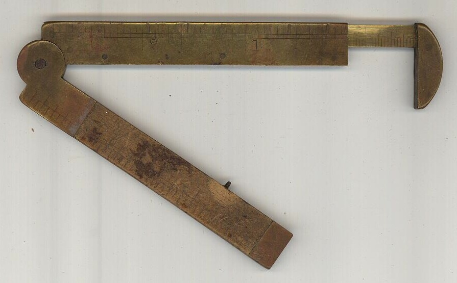Stanley folding ruler caliper 3 1/2 inches vintage tool brass boxwood