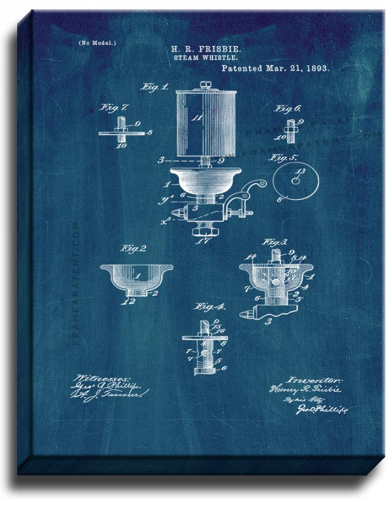 Primary image for Steam Whistle Patent Print Midnight Blue on Canvas