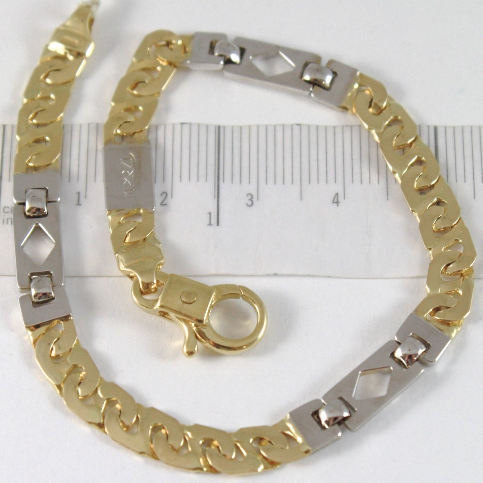 BRACELET YELLOW GOLD WHITE 750 18K, CROSSPIECE AND SQUARES ALTERNATING, 21 CM