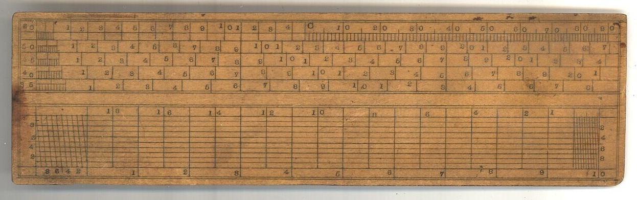 vintage scale ruler calculating boxwood tool drafting art measuring engineer