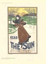 """LOUIS J. RHEAD Read The Sun 11.5"""" x 8.25"""" Lithograph 1897 Brown, Green, White, - $222.75"""