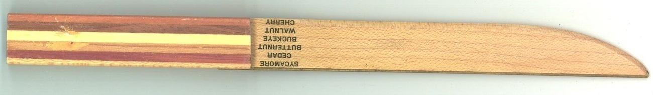 Vintage wood sample letter opener 1950 desk accessory