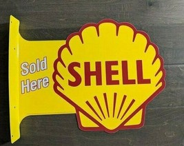 """18"""" SHELL Gas Oil Sold Here 3d cutout retro USA STEEL plate SIDE display ad Sign - $77.42"""