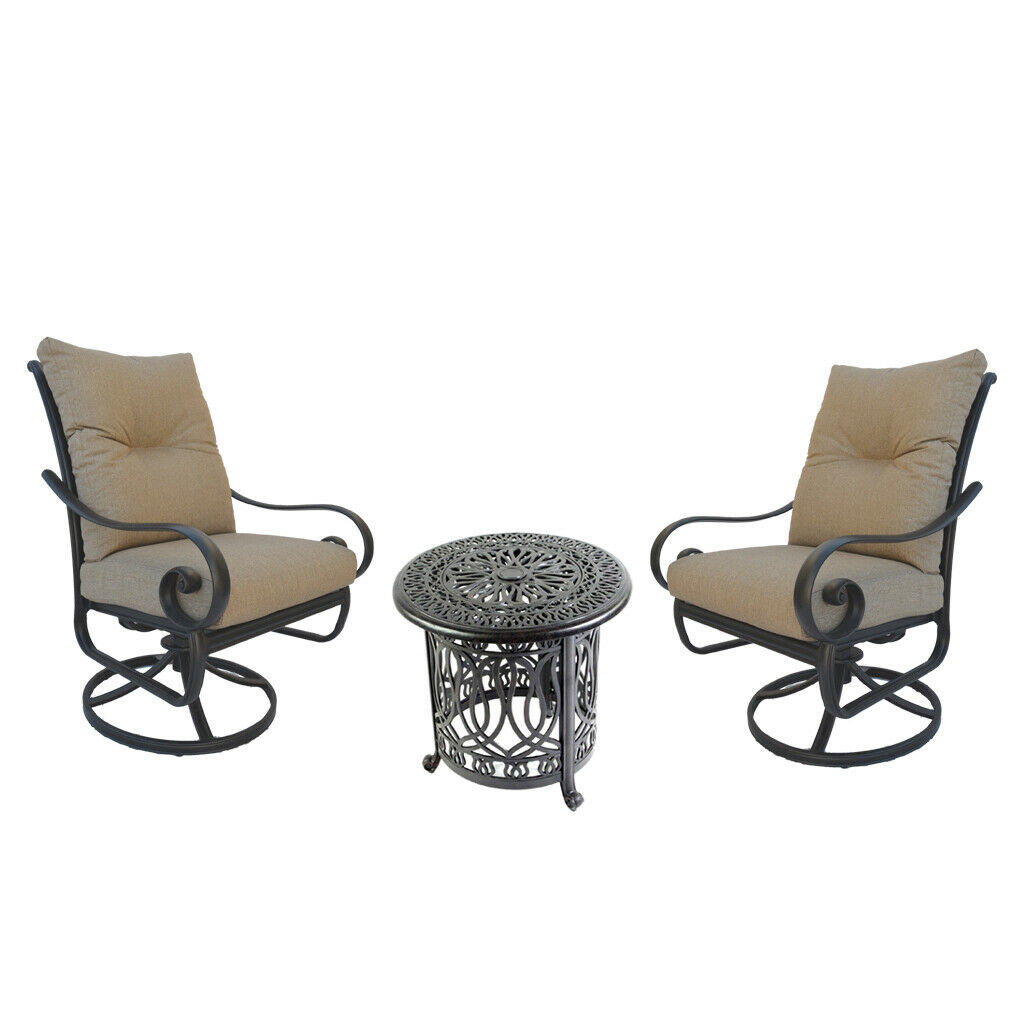 Santa Anita outdoor patio 3-piece cast aluminum bistro set table chairs swivels