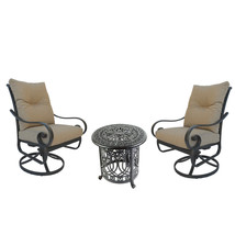 Santa Anita outdoor patio 3-piece cast aluminum bistro set table chairs swivels image 1