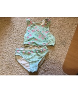 Wave Zone Girl's 2-Piece Swimsuit Size Large 10-12 Blue / Pink Cherries ... - $7.00