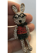 Vtg Jointed Bunny Rabbit Hare Peter Bow Tie & Glasses RHINESTONES Colorful - $17.82