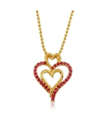 24K Yellow Gold Plated Ruby Corundum Triple Hea... - $14.00