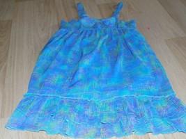 Girl's Size Medium Disney D Signed Aqua Blue Multi Colored Summer Sun Dr... - $15.00