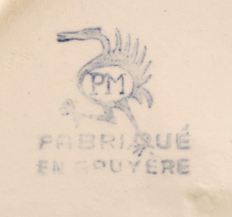 PM Ceramic Blue & White Saucer Fabrique en Gruyere Demitasse France