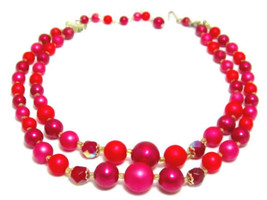 "Stunning Vintage Double Strand Necklace Dark Red & Pink Faux Pearl 16.5""... - $17.32"