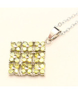 Yellowish Green Sapphire CZ Flower Cluster Square Silver Pendant Only  - $12.00