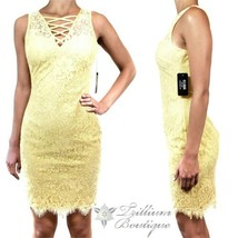 GUESS Women's Lace Criss Cross Bodycon Dress Yellow, 10 NWT! - $118.77