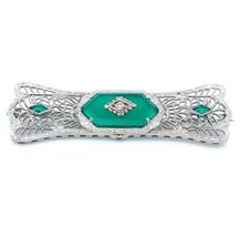 Art Deco 14k Gold Filigree Green Genuine Natural Onyx and Diamond Pin (#... - $594.00