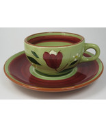 Retro 1950s Stangl USA Cup And Saucer Magnolia Brown Avocado Green Red F... - $16.00