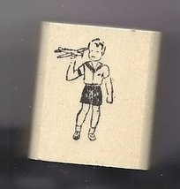 1940's boy in shorts Holding toy Airplane  rubber stamp very small made in USA - $8.00