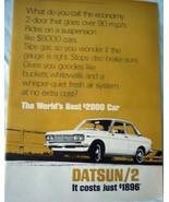 Datsun /2 Economy 2-Door Economy Car Magazine Advertising Print Ad Art 1969 - $6.99