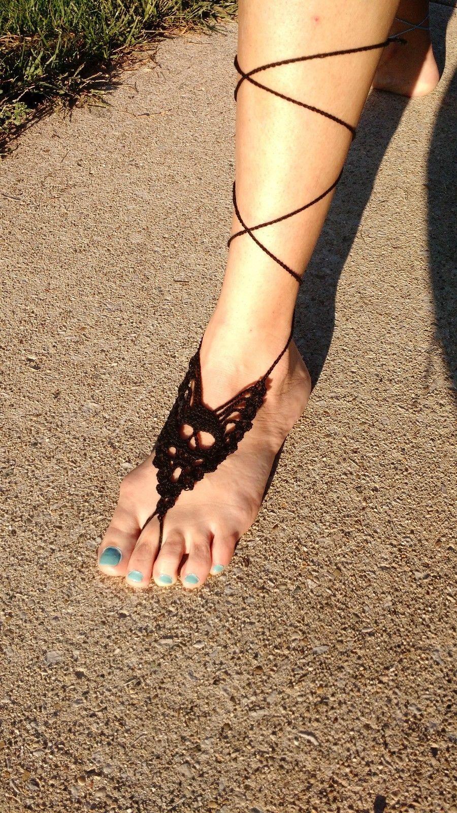 Hand Made Crocheted Skull Barefoot Sandal