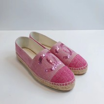 100% Authentic NEW Chanel Pink Sequin Slip On CC Logo Espadrilles Shoes Flats 37 image 5