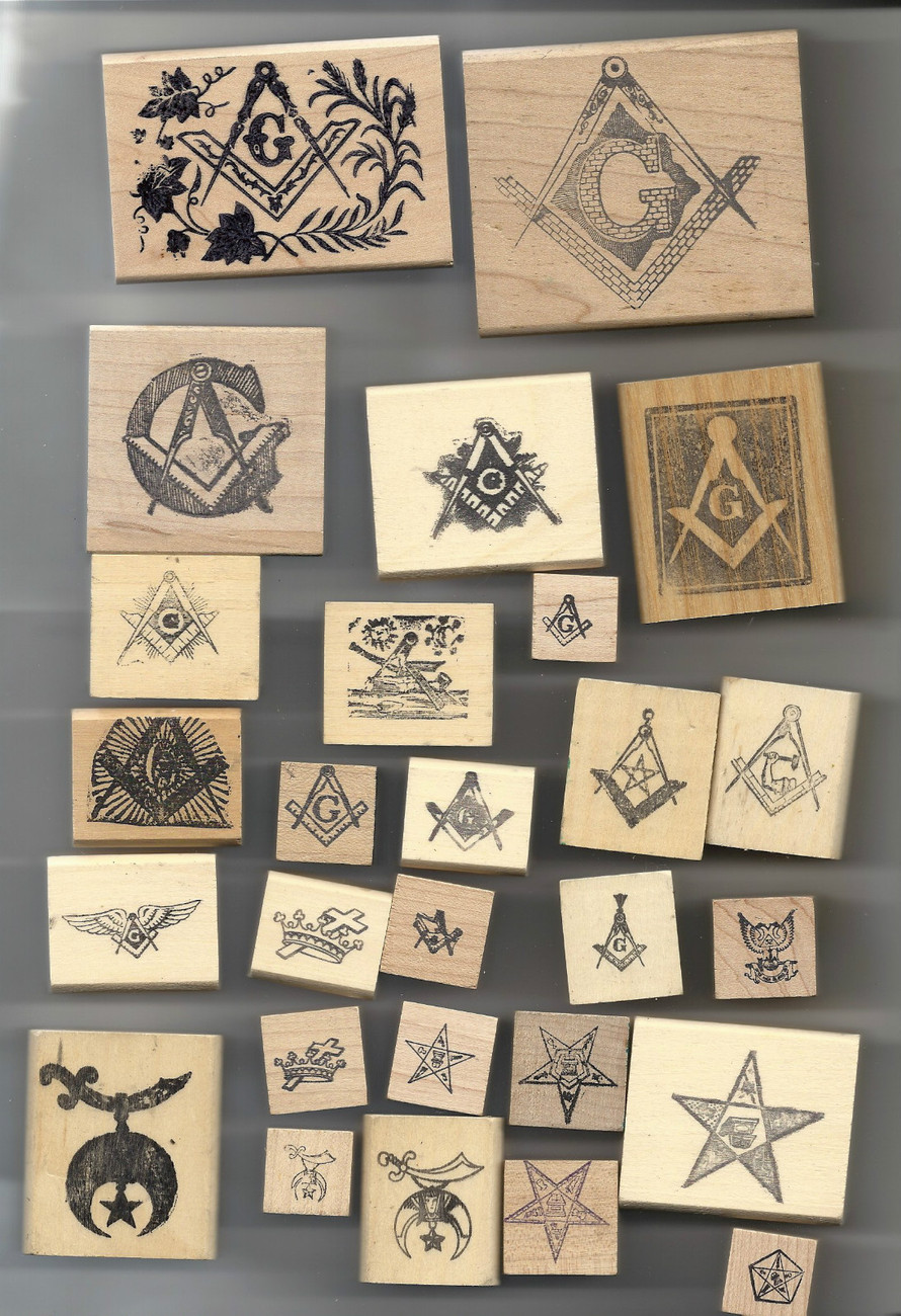 Primary image for 27 different Masonic Rubber Stamps OES Shriners mason Eastern star shrine USA