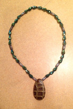 Green, Beaded Necklace, Focal bead, - $10.00